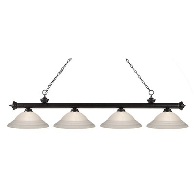 Zephyr 4-Light Bell Shade Kitchen Island Pendant Finish: Bronze, Shade Color: White