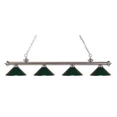 Riviera 4-Light Kitchen Island Pendant Finish: Brushed Nickel, Shade Color: Dark Green