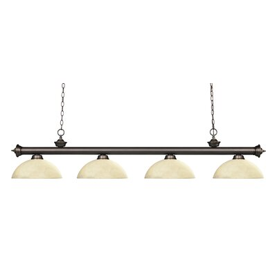 Riviera 4-Light Kitchen Island Pendant Shade Color: Golden Mottle, Finish: Olde Bronze