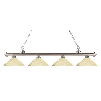 Zephyr 4-Light Cone Shade Kitchen Island Pendant Shade Color: Golden Mottle, Finish: Brushed Nickel