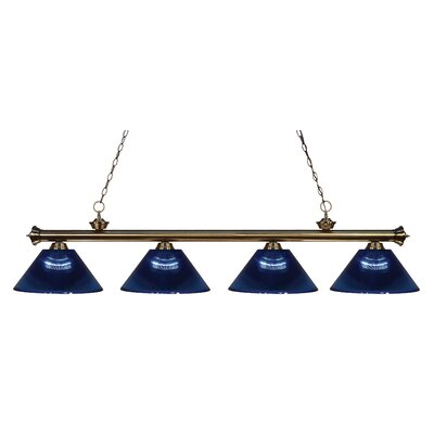 Chapple 4-Light Kitchen Island Pendant Finish: Antique Brass, Shade Color: Dark Blue