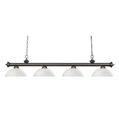 Zephyr 4-Light Bowl Shade Kitchen Island Pendant Shade Color: Matte Opal, Finish: Olde Bronze
