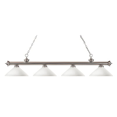 Zephyr 4-Light Cone Shade Kitchen Island Pendant Finish: Brushed Nickel, Shade Color: Matte Opal