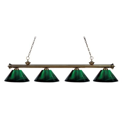 Chapple 4-Light Kitchen Island Pendant Finish: Antique Brass, Shade Color: Green