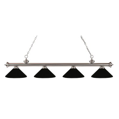 Zephyr 4-Light Kitchen Island Pendant Finish: Brushed Nickel, Shade Color: Matte Black