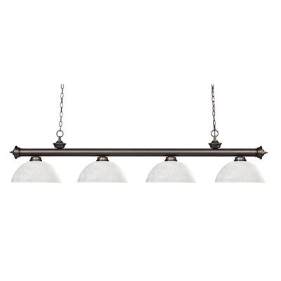 Zephyr 4-Light Bowl Shade Kitchen Island Pendant Finish: Olde Bronze, Shade Color: White Linen