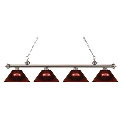 Riviera 4-Light Kitchen Island Pendant Finish: Brushed Nickel, Shade Color: Burgundy