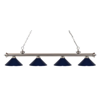 Zephyr 4-Light Kitchen Island Pendant Finish: Brushed Nickel, Shade Color: Navy Blue