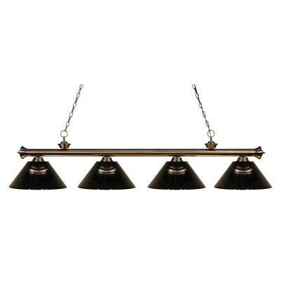 Riviera 4-Light Kitchen Island Pendant Finish: Antique Brass, Shade Color: Smoke