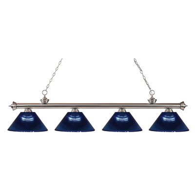 Riviera 4-Light Kitchen Island Pendant Shade Color: Dark Blue, Finish: Brushed Nickel