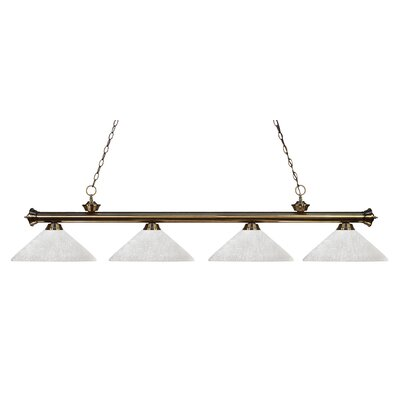 Zephyr 4-Light Cone Shade Kitchen Island Pendant Finish: Antique Brass, Shade Color: White Linen