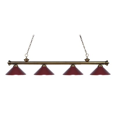 Zephyr 4-Light Kitchen Island Pendant Shade Color: Dark Wine, Finish: Antique Brass