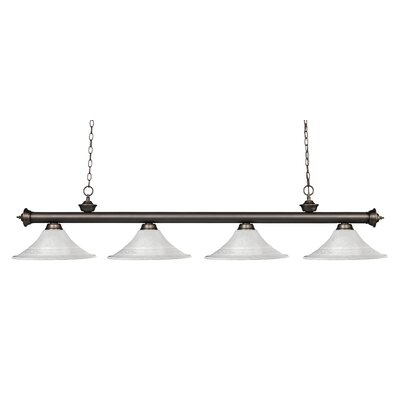 Zephyr 4-Light Glass Shade Kitchen Island Pendant Finish: Olde Bronze, Shade Color: White Mottle