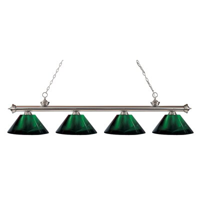 Riviera 4-Light Kitchen Island Pendant Finish: Brushed Nickel, Shade Color: Green