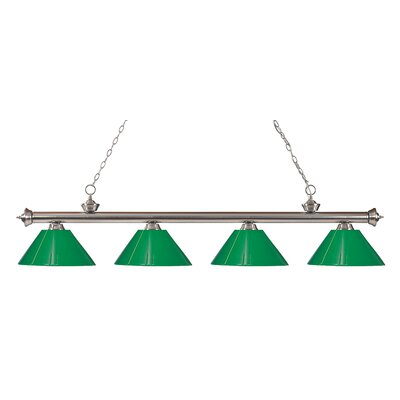 Zephyr Contemporary 4-Light Kitchen Island Pendant Finish: Brushed Nickel, Shade Color: Green