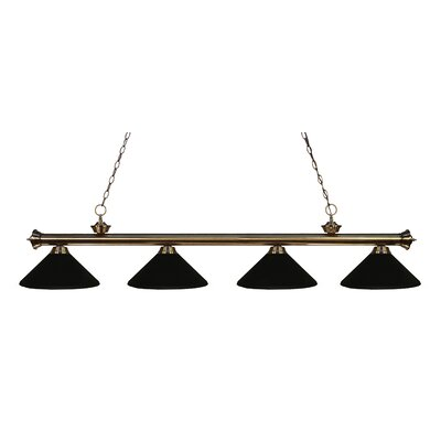 Zephyr 4-Light Kitchen Island Pendant Finish: Antique Brass, Shade Color: Matte Black