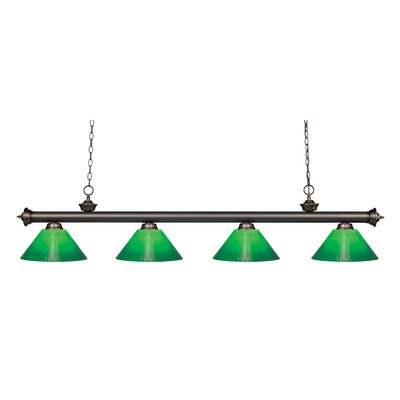 Zephyr 4-Light Cone Glass Shade Kitchen Island Pendant Finish: Olde Bronze