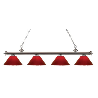Zephyr Contemporary 4-Light Kitchen Island Pendant Finish: Brushed Nickel, Shade Color: Red