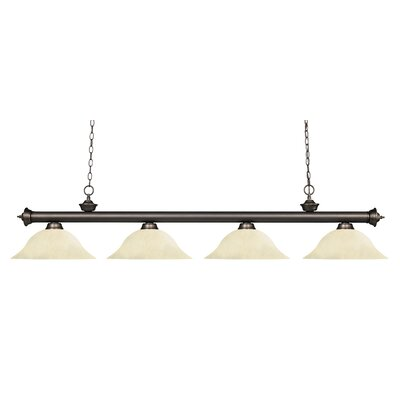 Zephyr 4-Light Steel Kitchen Island Pendant Finish: Olde Bronze, Shade Color: Golden Mottle