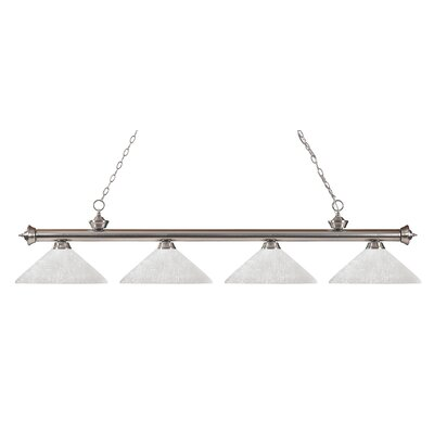 Zephyr 4-Light Cone Shade Kitchen Island Pendant Finish: Brushed Nickel, Shade Color: White Linen