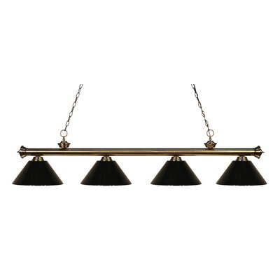 Zephyr Contemporary 4-Light Kitchen Island Pendant Shade Color: Black, Finish: Antique Brass