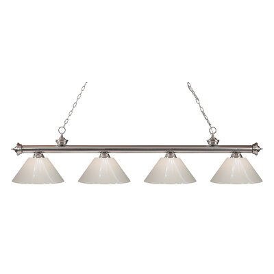 Zephyr Contemporary 4-Light Kitchen Island Pendant Finish: Brushed Nickel, Shade Color: White