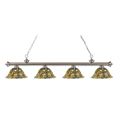 Bristoly Bell Shade 4-Light Kitchen Island Pendant Finish: Brushed Nickel