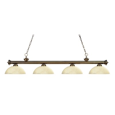 Riviera 4-Light Kitchen Island Pendant Shade Color: Golden Mottle, Finish: Antique Brass