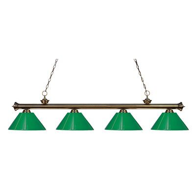 Zephyr Contemporary 4-Light Kitchen Island Pendant Shade Color: Green, Finish: Antique Brass