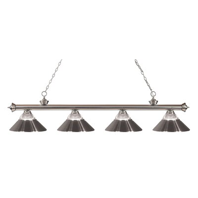 Riviera 4-Light Kitchen Island Pendant Finish: Brushed Nickel, Shade Color: Brushed Nickel