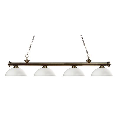 Zephyr 4-Light Bowl Shade Kitchen Island Pendant Finish: Antique Brass, Shade Color: Matte Opal