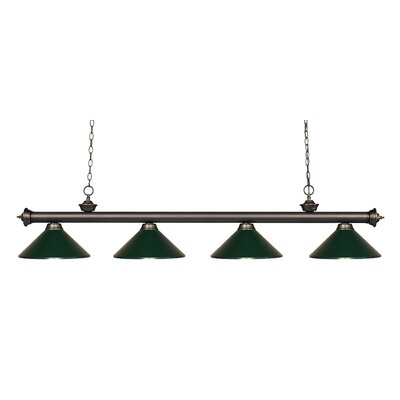 Zephyr 4-Light Kitchen Island Pendant Finish: Olde Bronze, Shade Color: Dark Green