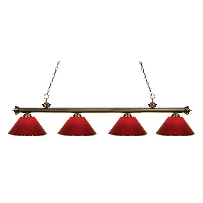 Riviera 4-Light Kitchen Island Pendant Finish: Antique Brass, Shade Color: Red
