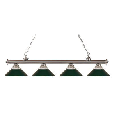 Chapple 4-Light Kitchen Island Pendant Finish: Brushed Nickel, Shade Color: Dark Green
