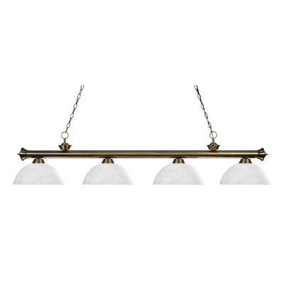 Zephyr 4-Light Bowl Shade Kitchen Island Pendant Shade Color: White Linen, Finish: Antique Brass