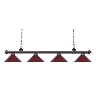 Zephyr 4-Light Kitchen Island Pendant Shade Color: Dark Wine, Finish: Olde Bronze