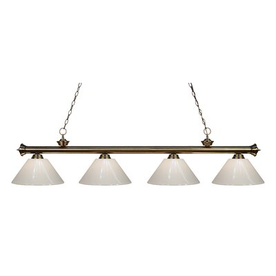 Zephyr Contemporary 4-Light Kitchen Island Pendant Finish: Antique Brass, Shade Color: White