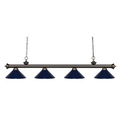 Zephyr 4-Light Kitchen Island Pendant Shade Color: Navy Blue, Finish: Olde Bronze