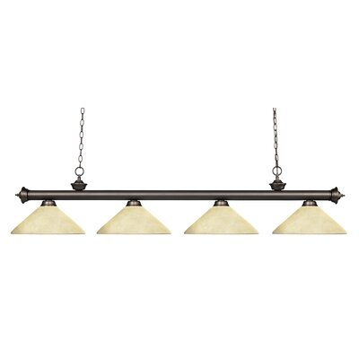 Zephyr 4-Light Cone Shade Kitchen Island Pendant Finish: Olde Bronze, Shade Color: Golden Mottle