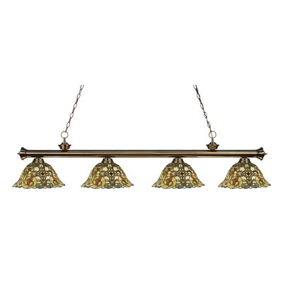 Bristoly Bell Shade 4-Light Kitchen Island Pendant Finish: Antique Brass