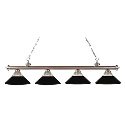 Riviera 4-Light Kitchen Island Pendant Shade Color: Matte Black, Finish: Brushed Nickel