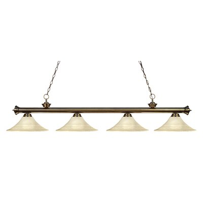 Zephyr 4-Light Glass Shade Kitchen Island Pendant Finish: Antique Brass, Shade Color: Golden Mottle