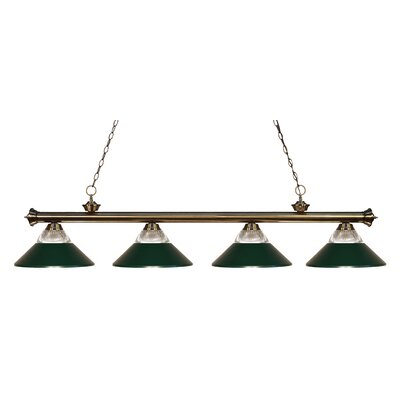 Riviera 4-Light Kitchen Island Pendant Finish: Antique Brass, Shade Color: Dark Green