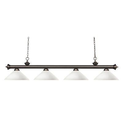 Zephyr 4-Light Cone Shade Kitchen Island Pendant Shade Color: Matte Opal, Finish: Olde Bronze