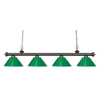 Zephyr Contemporary 4-Light Kitchen Island Pendant Finish: Olde Bronze, Shade Color: Green