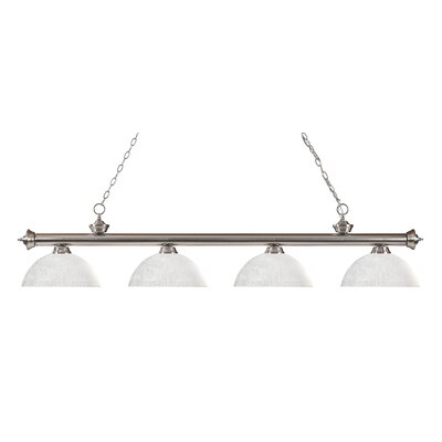 Riviera 4-Light Kitchen Island Pendant Finish: Brushed Nickel, Shade Color: White Linen