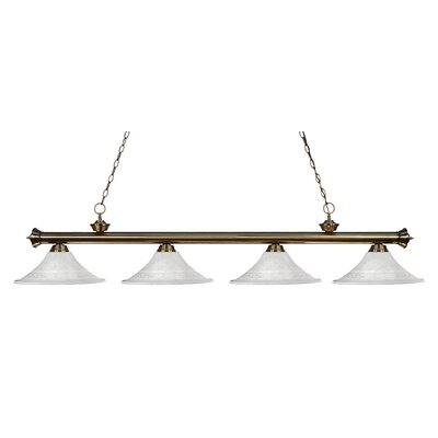 Zephyr 4-Light Glass Shade Kitchen Island Pendant Finish: Antique Brass, Shade Color: White Mottle