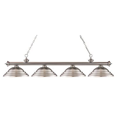 Zephyr 4-Light Metal Shade Kitchen Island Pendant Finish: Brushed Nickel, Shade Color: Brushed Nickel