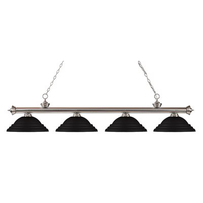 Zephyr 4-Light Metal Shade Kitchen Island Pendant Finish: Brushed Nickel, Shade Color: Matte Black