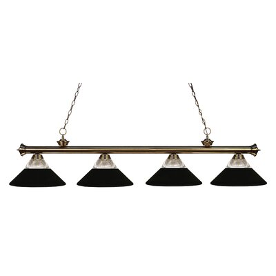 Riviera 4-Light Kitchen Island Pendant Finish: Antique Brass, Shade Color: Matte Black